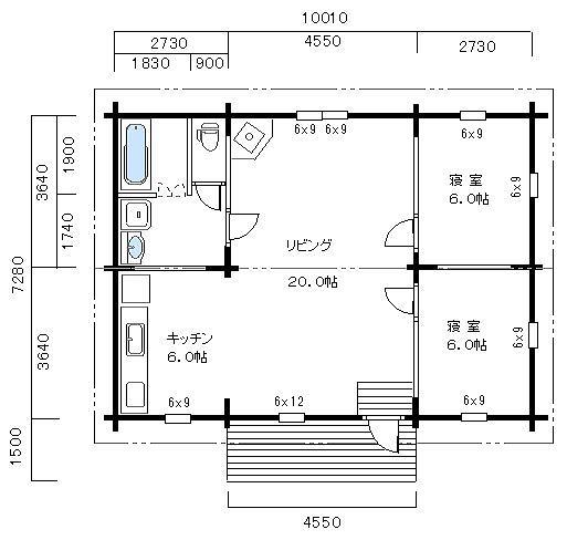 平屋ログハウス FP-107