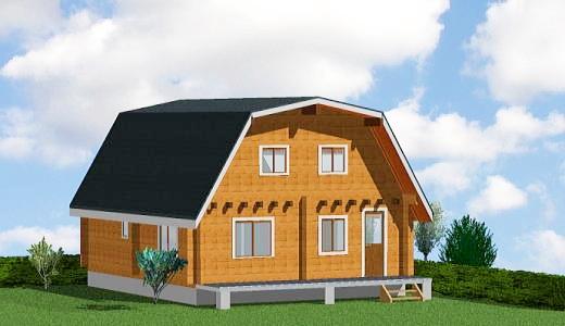 アルミサッシ窓仕様のログハウス住宅 マンサード屋根タイプ