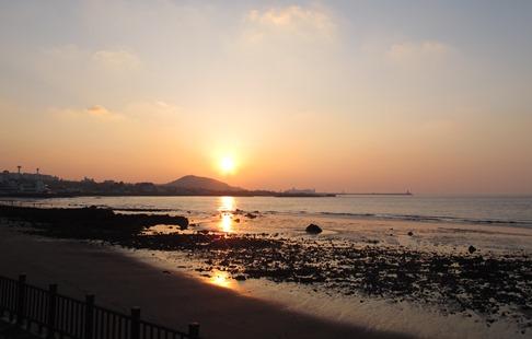 済州島の夕日