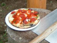 ログハウスでピザ作り